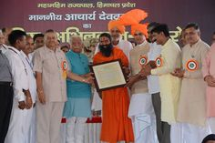 #Yoga guru Baba Ramdev ji with  honorable chief minister of Hariyana shri Manohar Lal khattar and Honorable governor shri Dev Vrat ji.