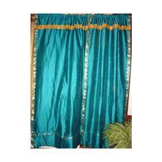 Mogul Interior Window Treatment 2 Turquoise Blue India Silk Sari Panels Drapes Curtains 84 Inches found on Polyvore