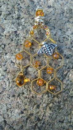 Gift for Her Wire Wrapped Honeycomb with Bee and Honey