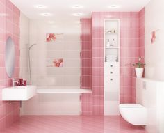 Pink bathroom loving these wall mount toilets, must be so much easier to clean!!