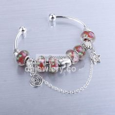 #Fake #Pandora Sterling Silver Cuff #Bracelet Plated Glaze Bead Charms #red with #Retail