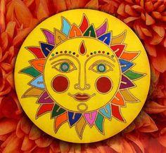 Stone Art Painting, Sun Painting, Hippie Painting, Madhubani Art, Madhubani Painting, Mandala Painted Rocks, Batik Art, Indian Folk Art, Mini Canvas Art
