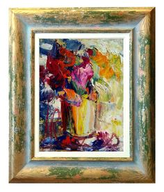 Italian art Flowers abstract n58 materic oil painting di Modiarte