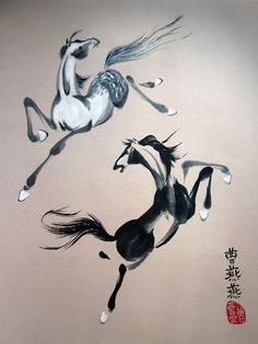 """""""Elemental Orbit"""" shows a balance of black and white horses on buff rice paper. By Tracie Griffith Tso of Reston, Va. on display at the NIH Clinical Center through Sept. 5. #horse #brushpainting"""