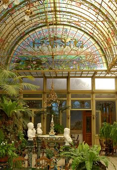 """Winter garden : general view    It's quite a long time ago that I posted a picture of the art nouveau winter garden (1900) of the school of the Ursulines, Onze-Lieve-Vrouw-Waver (between Brussels and Antwerp, Belgium).  This stunning place was the visiting room of the """"pensionnat de demoiselles""""."""