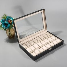 Pu Leather 6/12/20/24 Slot Wrist Watch Display Box Storage Holder Organizer Case
