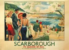Poster produced for London and North Eastern Railway (LNER) to promote rail travel to coastal resort town of Scarborough Canvas Print Framed, Poster, Canvas Prints, Puzzles, Photo Gifts and Wall Art Posters Uk, Railway Posters, Poster Prints, Travel Ads, Travel And Tourism, National Railway Museum, Canvas Prints, Art Prints, Vintage Travel Posters