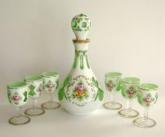 Antique Green Glass Goblet   Antique Moser Glass Decanter Set Opaque White Overlay Cut to Green