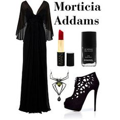 A fashion look from January 2012 featuring robe en soie, bottines en daim noir et goth necklace. Browse and shop related looks. 80s Halloween Costumes, Halloween Cosplay, Halloween 2016, Pretty Outfits, Beautiful Outfits, Addams Family Costumes, Goth Beauty, Dark Beauty, Morticia Addams