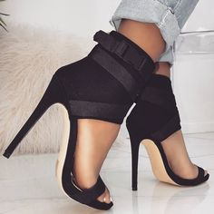 Spandex 'Jamilla' Buckle Stiletto Heels in Black