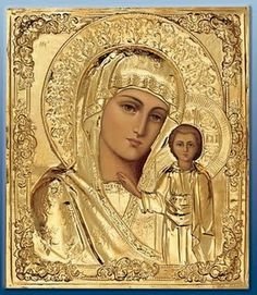 Religious Icon of Our Blessed Mother Religious Pictures, Religious Icons, Religious Art, Russian Icons, Russian Art, Religion, Immaculée Conception, Spiritual Images, Blessed Mother Mary