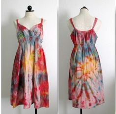 MERONA Tie Dye Boho Hippie Embroidered Woven Cotton Lined Dress- S