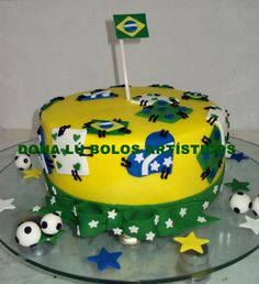 bolo Brasil Bolo Fake, Themed Cakes, Brazil, Pastel, Desserts, Theme Cakes, Decorating Cakes, Breakfast Nook, World