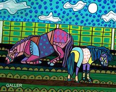 50% Off - Horse Pony Folk Art Poster Print of Painting by Heather Galler (HG522)