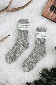 Olive Marbled Striped Crew Socks | UOIonline.com: Women's Clothing Boutique