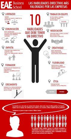 Hola: Una infografía con 10 habilidades directivas más valoradas por las empresas. Vía Un saludo