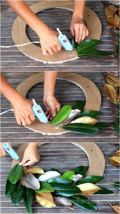 Easy tutorial & video on how to make a FREE beautiful DIY magnolia wreath! Perfect for modern farmhouse, boho, wedding, Thanksgiving, Christmas decorations! - A Piece of Rainbow home decor farmhouse decor diy Easy & Free DIY Magnolia Wreath Holiday Crafts, Home Crafts, Fall Crafts, Garden Crafts, Garden Ideas, Dyi Crafts, Upcycled Crafts, Summer Crafts, Garden Tips