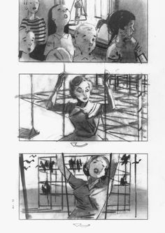 "Alfred Hitchcock's storyboards for ""The Birds,"" the horror film that turns 50 this year."