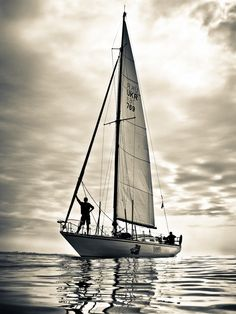 Sailing, black and white