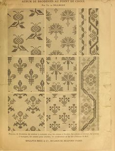 Album de broderies au point de croix 1890 - found via Archive.org - texts