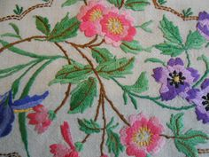 4 STUNNING VINTAGE HAND EMBROIDERED CUSHION COVERS in Antiques, Fabric/ Textiles, Embroidery | eBay
