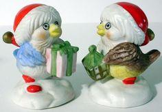 2 Vintage Ceramic Birds Wearing Santa Hats Figurines Holding Lantern And Present