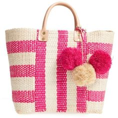 Women's Mar Y Sol 'Collins' Woven Tote (€120) ❤ liked on Polyvore featuring bags, handbags, tote bags, pink, pink tote bags, tote bag purse, woven tote, woven purse and tote purses