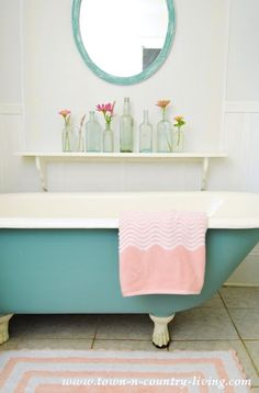 Using Pink in a Summer Farmhouse Bathroom