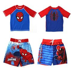 Ride the waves in style wearing this Marvel Comics Spider-Man toddler and youth boys swimwear. A cool board-shorts look with a matching rash guard and SPF 50+ UV protection make these super-swimsuits burst with surfer style. Choose from four action-packed styles: Blue Spider Rash Guard: features a cool graphic of the Spiderman Spider logo on the front; Blue Spider-Man Rash Guard: features an amazing graphic of the epic Spider-Man face on the front; Red Ultimate Trunks: features throughout…
