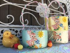 Pearl Blue Shabby Chic Retro Duck Bunny & Lamb Small EASTER BASKET Decor Decorations Handpainted Decoupage Tin Can by Sweet Vintage Designs by SweetVintageDesignCo on Etsy