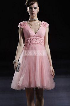 Knee Length V-neck Princess Organza Bridesmaid Dress