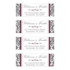 These stylish charcoal grey and white damask pattern return address mailing labels have burgundy wine accent colors and a decorative scrolled divider between the name and address lines to give your wedding labels an elegant, sophisticated look. Mailing Labels, Address Labels, Wedding Labels, Wedding Invitations, Burgundy Wedding Theme, Elegant Sophisticated, White Damask, Burgundy Wine, Return Address