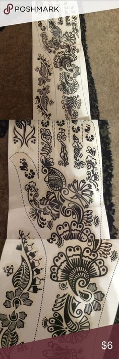 Temporary Black Henna Tattoo Works the same way as any other temporary tattoo! It's a casual design that goes with everything! Accessories