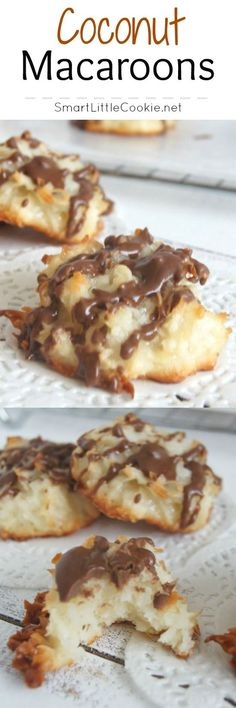 These Coconut Macaroons are sweet and moist with a crispy exterior and deliciously chewy on the inside. The chocolate drizzle adds another layer of smooth sweet flavor that will leave you just wanting more even after they are all gone.   SmartLittleCookie.net