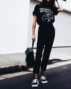 Graphic Concert T-Shirt + Black, Skinny Jeans + Black Van Sneakers