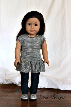 Ruffle Hem Tunic T-shirt – American Girl Doll Clothes - American Girl Dolls Sewing Doll Clothes, Sewing Dolls, Girl Doll Clothes, Doll Clothes Patterns, Girl Dolls, Doll Patterns, Ag Dolls, American Girl Crafts, American Doll Clothes
