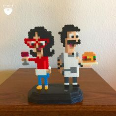 of 365 // Loved the artwork from Bob's Burger Art Show, I had to make my own Perler version. Here is the completed deluxe standee. Hama Beads Design, Hama Beads Patterns, Beading Patterns, Geek Cross Stitch, Beaded Cross Stitch, Pearler Beads, Fuse Beads, Cute Crafts, Bead Crafts