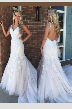 36f674924b855 Discount Luscious Wedding Dresses Lace Gorgeous Mermaid White Lace Appliques  Long Wedding Dress With Open Back