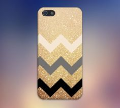 Gold Glitter x Tan Grey Black Chevrons Design Case for iPhone and Samsung