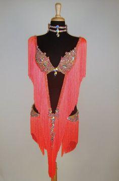 Latin Dress - FOR SALE - $1900 Tangerine Fringe Latin Ballroom Dress Size 2-6