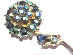 Vintage Signed Kramer Blue Rhinestone Flower Brooch Pin Long Stem Gold Tone