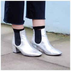 Give leather ankle boots a contemporary update in a metallic finish. #Topshop