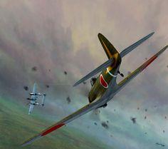 "Nakajima Ki-43 Hayabusa ""Oscar"" of the  3rd/54th Sentai in pursuit of Lockheed P-38 Lightning"