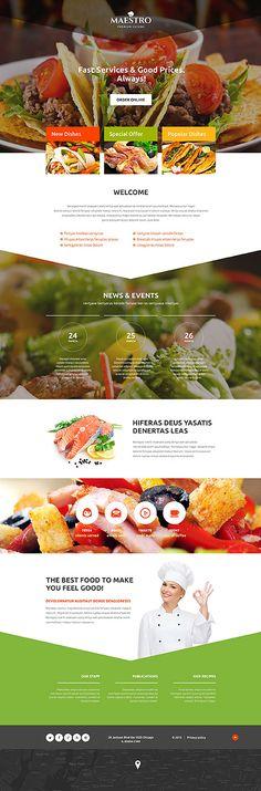 Template 54662 - Maestro Restaurant  Responsive Landing Page Template