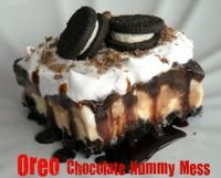 Six Sisters Oreo Chocolate Nummy Mess Recipe. A delicious dessert with ice cream, oreos, and chocolate!