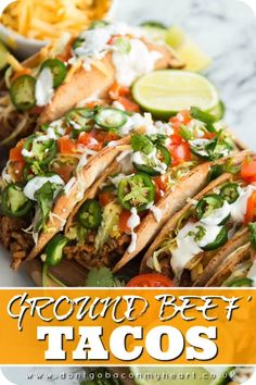 Take your Taco Tuesday to new heights with these easy Ground Beef Tacos. Served with homemade baked taco shells, you really can't go wrong! #tacos #homemadetacos #beeftacos #groundbeeftacos #tacoshells #tacotuesday | www.dontgobaconmyheart.co.uk