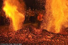 Chinese Men Walk Through Fire to Ward off Natural Disasters