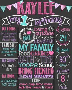 Girl First Birthday Chalkboard Poster // Girl Birthday Chalkboard // Pink Teal Purple Chevron // Pink Turquoise Lavender // Bright Birthday by PersonalizedChalk on Etsy https://www.etsy.com/listing/240271344/girl-first-birthday-chalkboard-poster