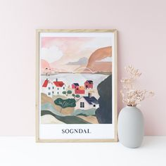 poster giclee print by illustrator and painter Pádhraic Mulholland. Sogndal - Norway - Sogndalsfjøra Northern Irish, Gouache, Norway, Gallery Wall, Collage, Ink, Watercolor, Frame, Illustration