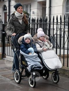 Princess Madeleine of Sweden seen strolling her children Princess Leonore (R) and Prince Nicolas in London in February 2017